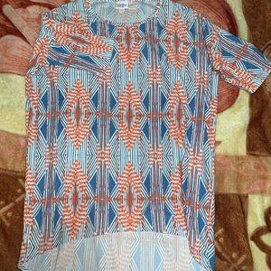 LuLaRoe Irma Top, Blue/Orange Pattern XXS